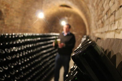 Philippe Paques in his Champagne Cellars