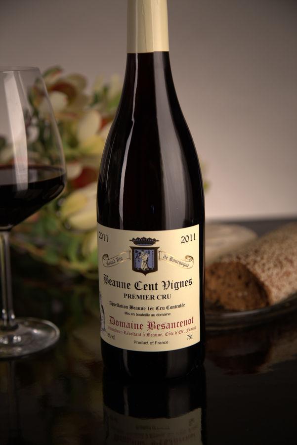 French Red Burgundy Wine, Domaine Besancenot 2011 Beaune Premier Cru Cent Vignes