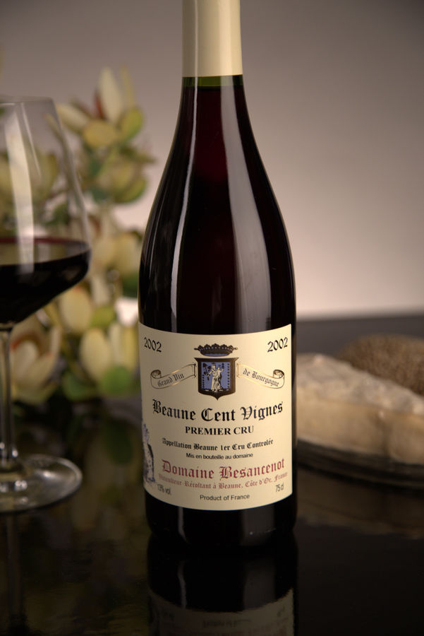 French Red Burgundy Wine, Domaine Besancenot 2002 Beaune Premier Cru Cent Vignes