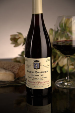 French Red Burgundy Wine, Domaine Besancenot 2011 Beaune Premier Cru Toussaints