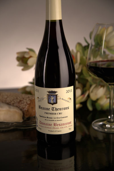 French Red Burgundy Wine, Domaine Besancenot 2011 Beaune Premier Cru Theurons