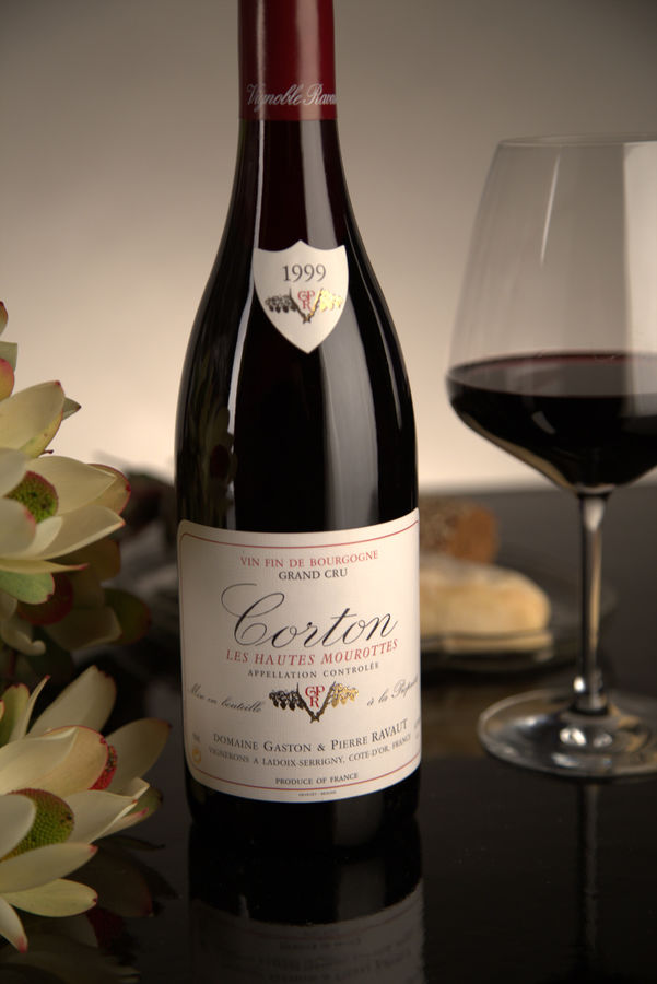 French Red Burgundy Wine, Domaine Gaston & Pierre Ravaut 1999 Corton Hautes Mourottes