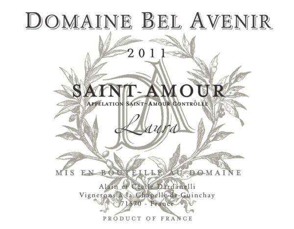 French Red Beaujolais Wine, Domaine Bel Avenir 2011 Saint-Amour Laura