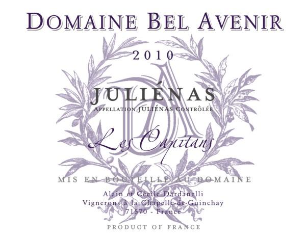 French Red Beaujolais Wine, Domaine Bel Avenir 2010 Juliénas Les Capitans