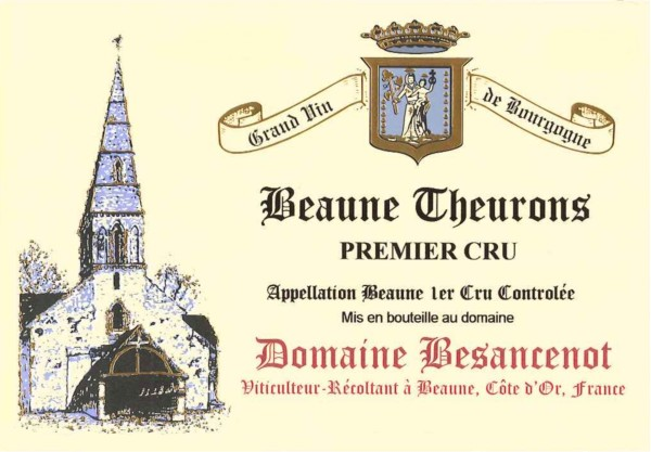 French Red Burgundy Wine, Domaine Besancenot 2010 Beaune Premier Cru Theurons