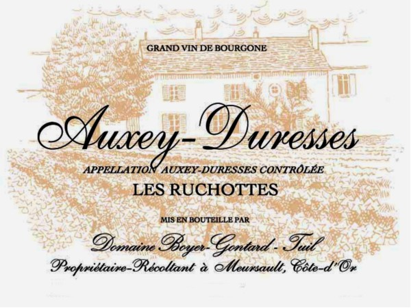 French White Burgundy Wine, Domaine Boyer-Gontard 2011 Auxey-Duresses Les Ruchottes