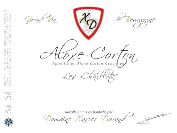French Red Burgundy Wine, Domaine Xavier Durand 2012 Aloxe-Corton Les Chaillots