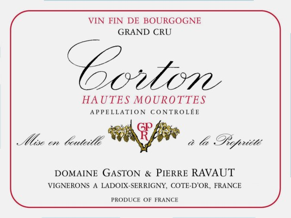 French Red Burgundy Wine, Domaine Gaston & Pierre Ravaut 1999 Corton Hautes Mourottes