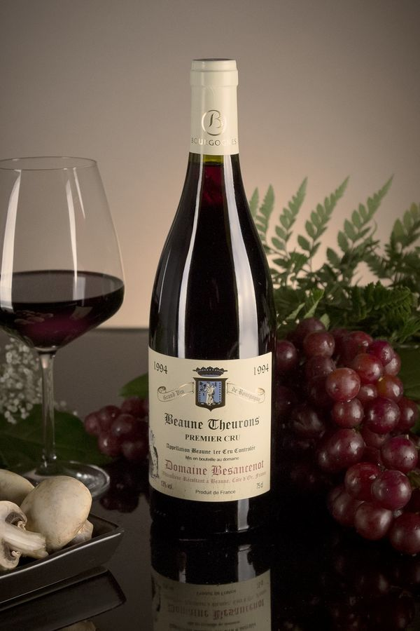 French Red Burgundy Wine, Domaine Besancenot 1994 Beaune Premier Cru Theurons